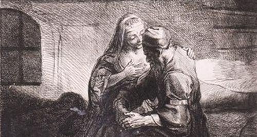 Bernard Picart, Cimon a Pero - podle Rembrandtovy kresby, 1. třetina 18.st, lept