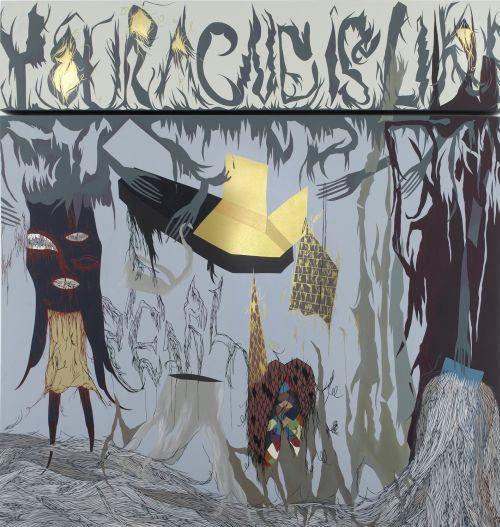 Buzz Saw, 2007, akryl, olej, tužka, plátno, 205 x 200 x 8 cm
